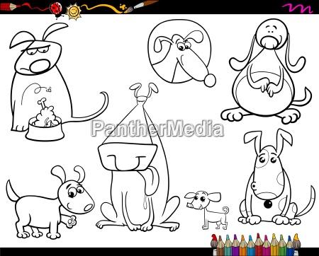 hunde setzen cartoon faerbung seite