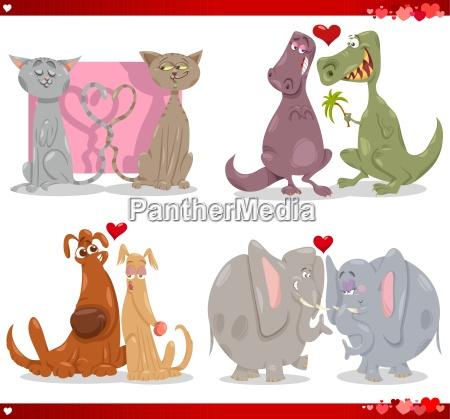 valentine cartoon illustration love set