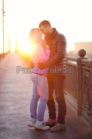 heterosexual couple in the city