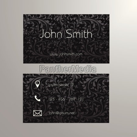 visitenkarte vorlage in schwarz und grau