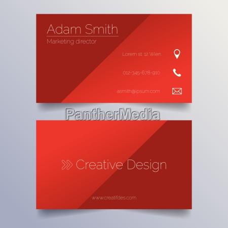 business card template sleek red