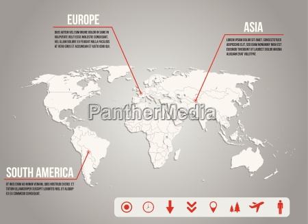 infographic world karte mit verschiedenen symbolen