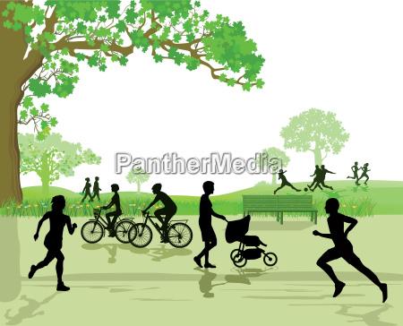 freizeit und sport im park