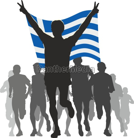 athlete with the greece flag at