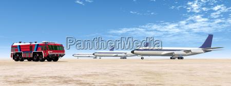 flughafen loeschfahrzeug und passagierflugzeuge