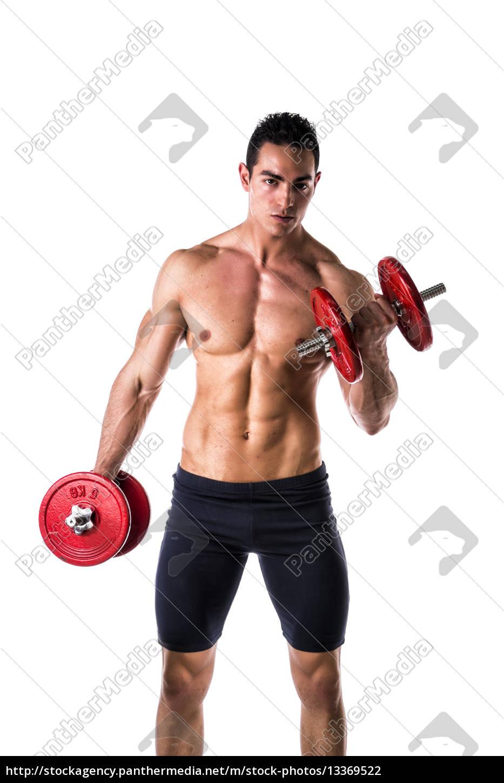 muskul s shirtless junger mann aus bung bizeps mit stock photo 13369522 bildagentur. Black Bedroom Furniture Sets. Home Design Ideas