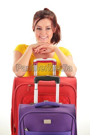 junge frau mit reisekoffern tourist bereit