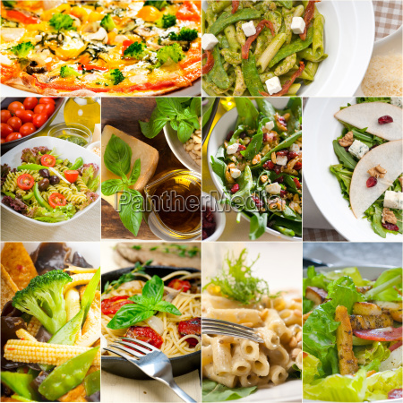 gesunde und leckere italienische essen collage