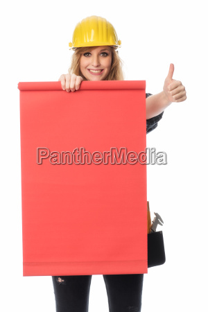 female craftsman holding a red advertising
