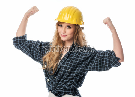 female craftsman with helmet clenches his