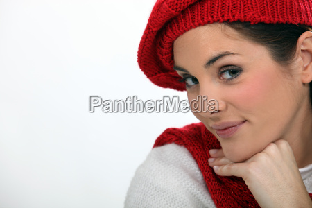 woman in a knitted beret and