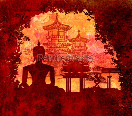 silhouette of a buddha asian landscape