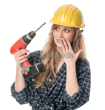 frightened craftsman with drill