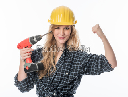 female craftsman with drill