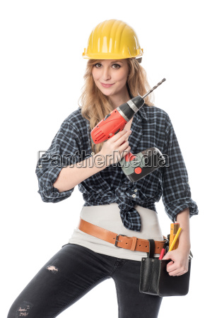 handwerker mit bohrmaschine