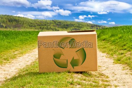 karton in der natur mit recyclingzeichen