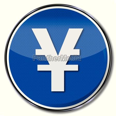 blaues schild mit dem japanischen yen