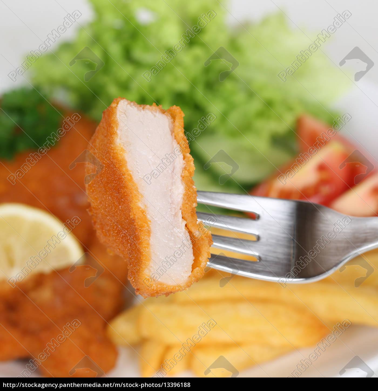 wiener, schnitzel, kotelett, essen, mit, gabel - 13396188