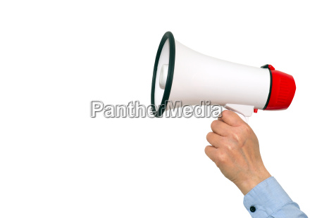 megaphone with hand on white background