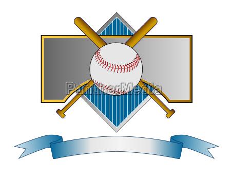 baseball und schlaeger auf metal crest