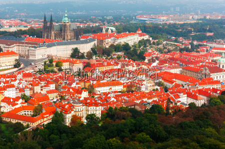 aerial view over prague castle in