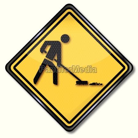 shield man sweeping