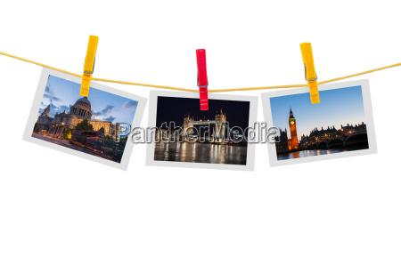 drei fotos von london an der