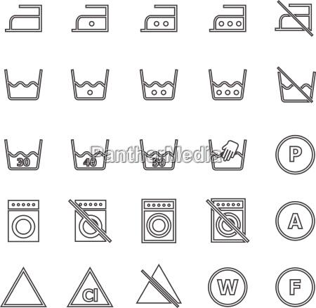 waescherei icons auf weissem hintergrund