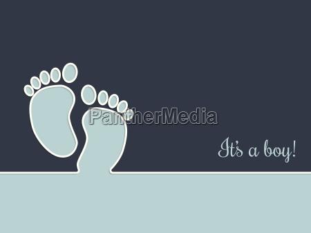 simplistic baby dusche grusskarte in blau