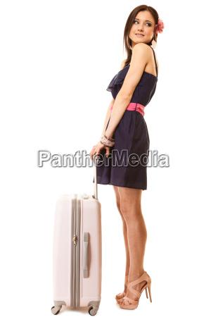 reisen und urlaub frau mit koffer