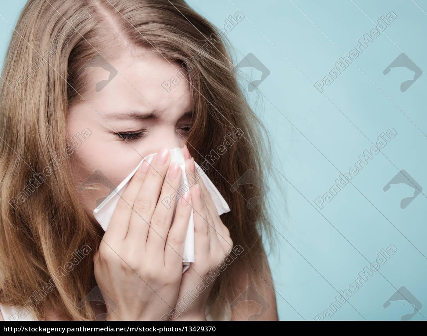 grippe, allergie., krankes, mädchen, niesen, in - 13429370