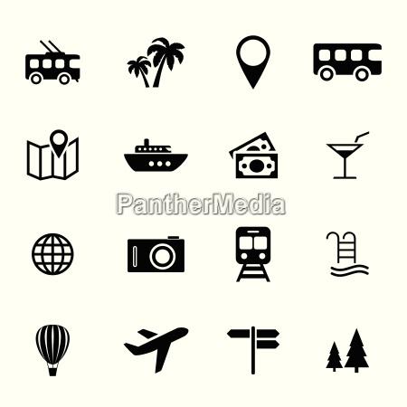 sammlung von flache ikonen ferien
