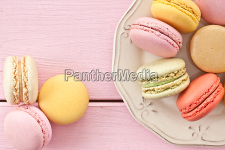 colorful macarons on plate