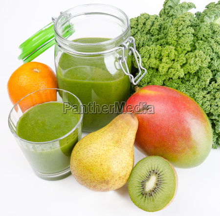 green smoothie with fresh kale and