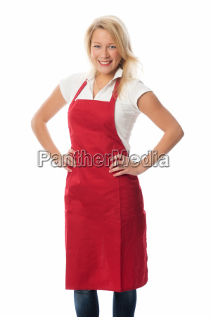 woman with red apron