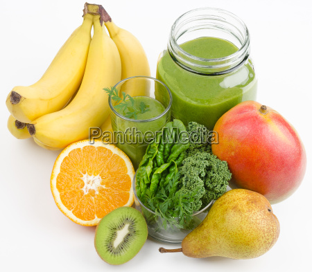 green smoothie with fruits and greens