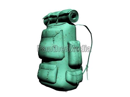 gruener trecking rucksack mit isomatte freigestellt