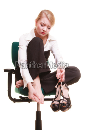 break from work tired businesswoman with