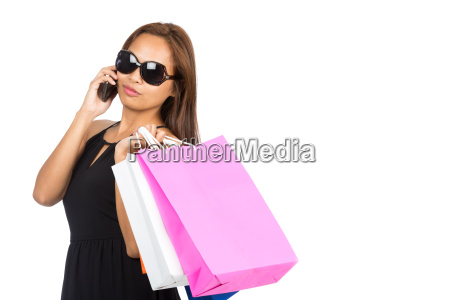 sonnenbrille asian woman shopping bags telefon