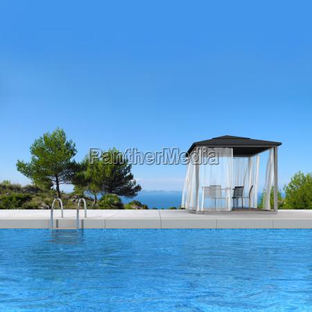 swimming pool und pavilllon mit blick