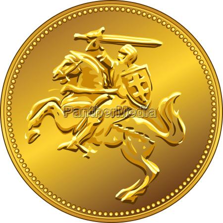 vektor goldgeldmuenze mit dem aufladenden ritter