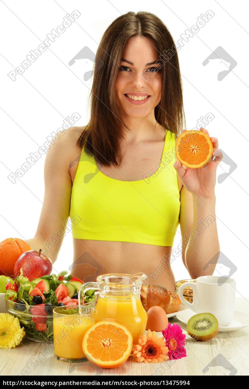junge, frau, mit, frühstück., ausgewogene, ernährung - 13475994
