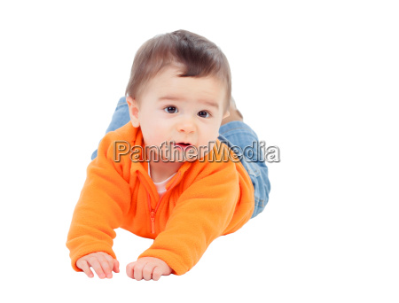 adorable six month baby with orange
