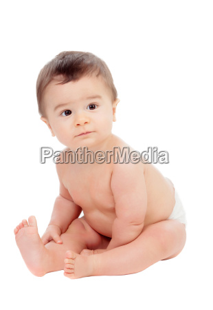 adorable six month baby in diaper