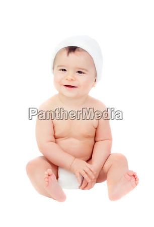 niedliches baby in windel mit muetze