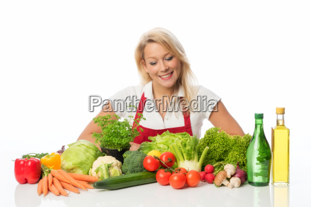 blonde woman with apron presenting different