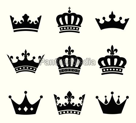 sammlung von krone silhouette symbole