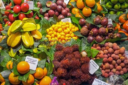 exotische fruechte in der boqueria in