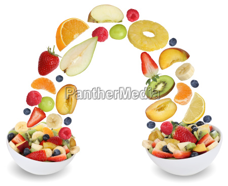 flying fruit salad with fruits such