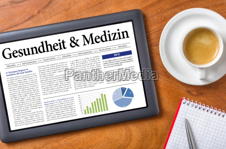 tablet on desk health and